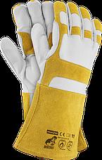 Перчатки спилковые для сварщика - длинные (манжет крага) RAWPOL - REIS Польша
