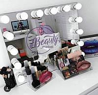 Большое зеркало с лампами, гримерное зеркало, зеркало для визажиста