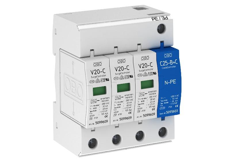 5094656 Розрядник для захисту від перенапруг 3-полюс.+NPE (ПЗІП), V20-C 3+NPE-280 OBO Bettermann (Німеччина)