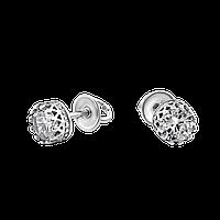 Серебряные серьги пусеты с камнями