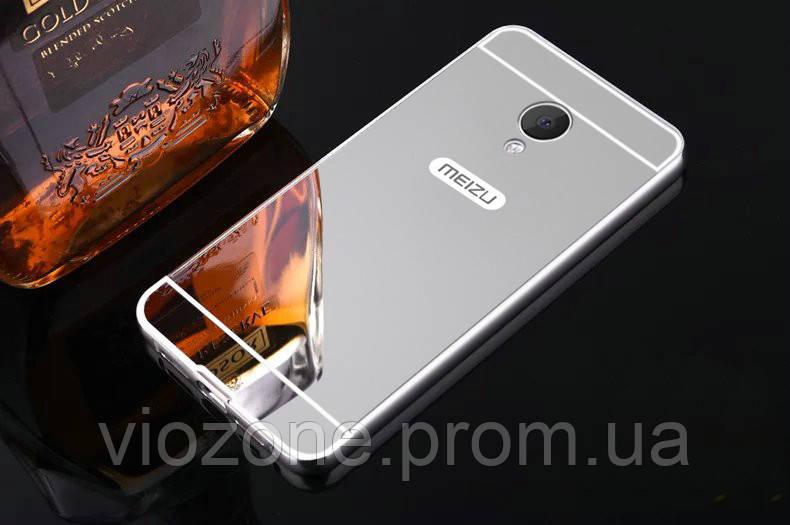 Зеркальный Чехол/Бампер для Meizu M5 Серый (Металлический)