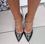 Жіночі темно-зелені туфлі з крокодила на шпильці, фото 4
