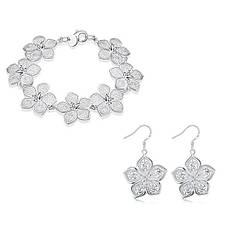 Жіночий комплект біжутерії (сережки, браслет) Срібні квіти покриття срібло 925