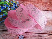 """Лента репсовая """"Вензель"""", серебро на нежно-розовом фоне, 2,5 см."""