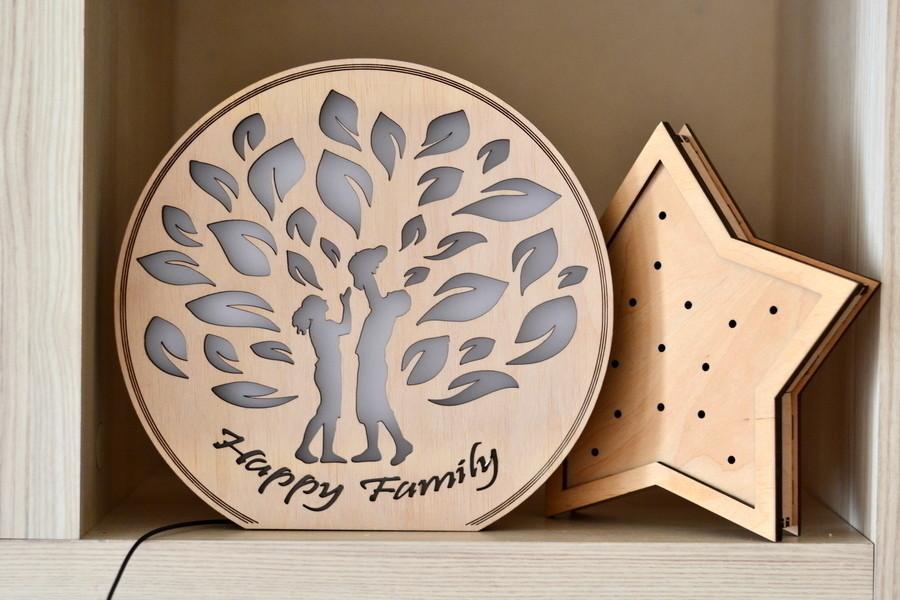 """Деревянный светильник, ночник """"Семейной дерево"""" - декор для дома"""