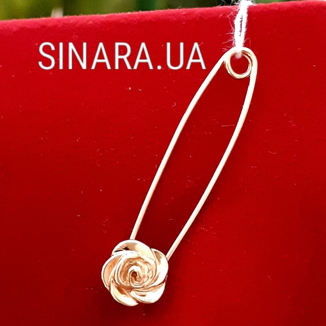 Золотая булавка Цветочек - Булавка золото 585 Роза