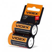 Батарейка C 1.5V R14P солевая Videx 2pcs shrink card 2 шт/уп
