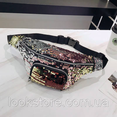 Женская поясная сумка на пояс с пайетками мультиколор