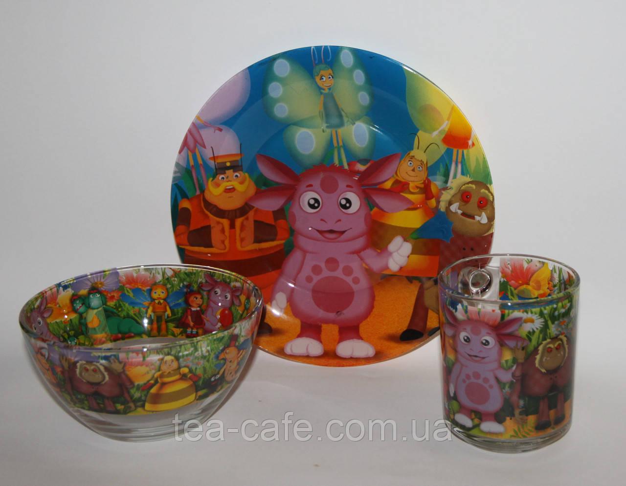 Набір дитячого посуду Лунтік (скло) 3 предмета.