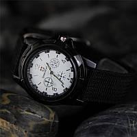 Кварцевые военные часы черный ремешок, стальной циферблат