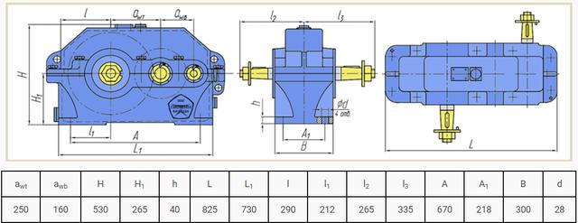 Габаритные размеры редуктора Ц2У-250 и 1Ц2У-250 чертеж