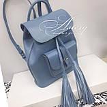 Женский голубой кожаный рюкзак, фото 2