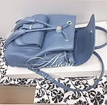 Женский голубой кожаный рюкзак, фото 4