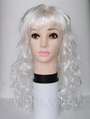 Карнавальный парик белый, кудрявый
