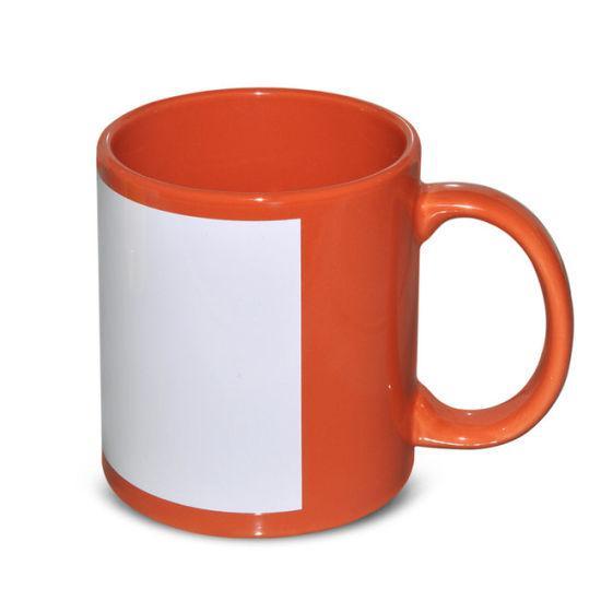 Чашка для сублимации цветная с полем 330 мл (Оранжевый)