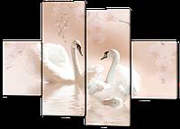 Картина модульная на коже Лебеди 120*93 см Код: 237.4k.120