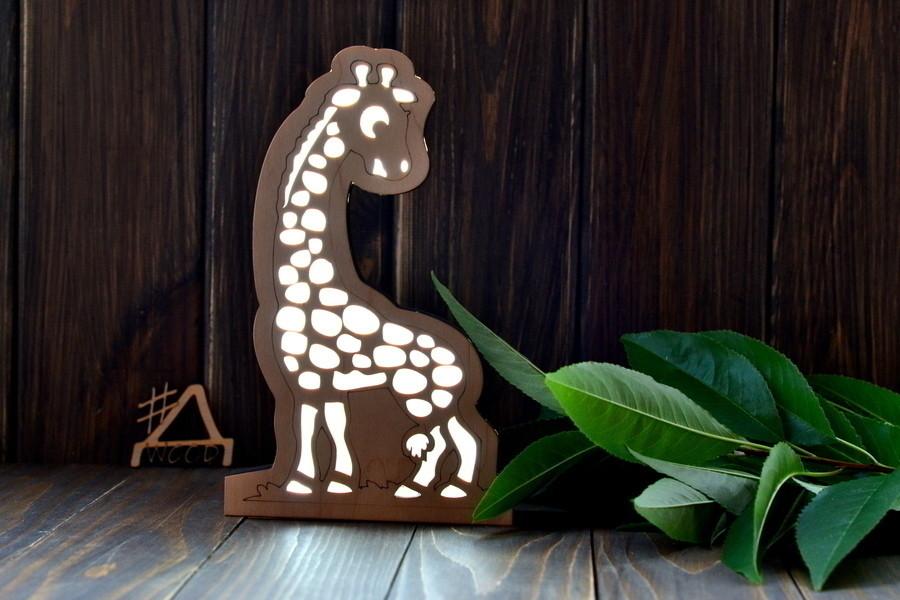 """Деревянный ночник для ребенка """"Жирафик"""""""