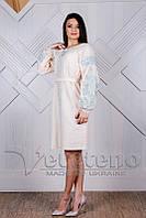 Пудровое розовое вышитое женское платье, платье бохо, натуральная ткань