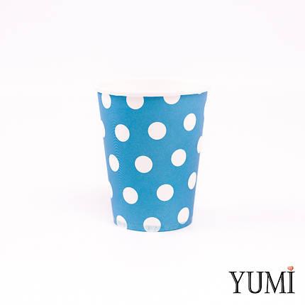 Стаканы голубые, в белый горошек, 10 шт, фото 2