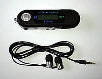 Mp3 плеер + FM радио + USB (на батарейке ААА) черный + наушники вакуумные