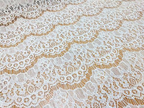 Ткань гипюр волна, белый