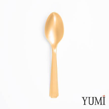 Ложка пластмассовая Gold золотая 10 шт., фото 2