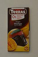 Черный шоколад Torras без сахара с манго, 75 г