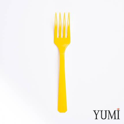Вилка пластмассовая Sunshine Yellow желтая 10 шт. Amscan, фото 2