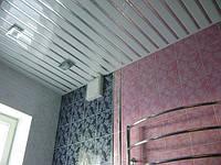 Реечный подвесной потолок немецкий дизайн ППР-083 цвет белый глянец- хром вставка