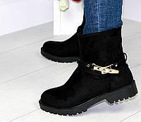 Женские Короткие Черные Ботинки Эко-замш р.37,38, фото 1