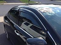 Дефлекторы окон (ветровики) с хром полосой (кантом-молдингом) Honda Accord 9 (хонда аккорд 2013+)