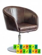 Парикмахерское кресло мягкое коричневое Мурат P