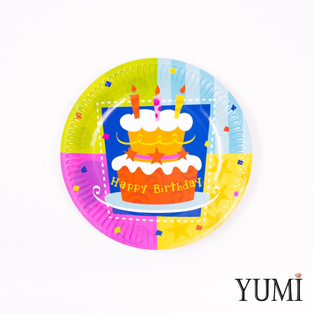Тарелки картон Торт День Рождения  17см / 6шт. Amscan