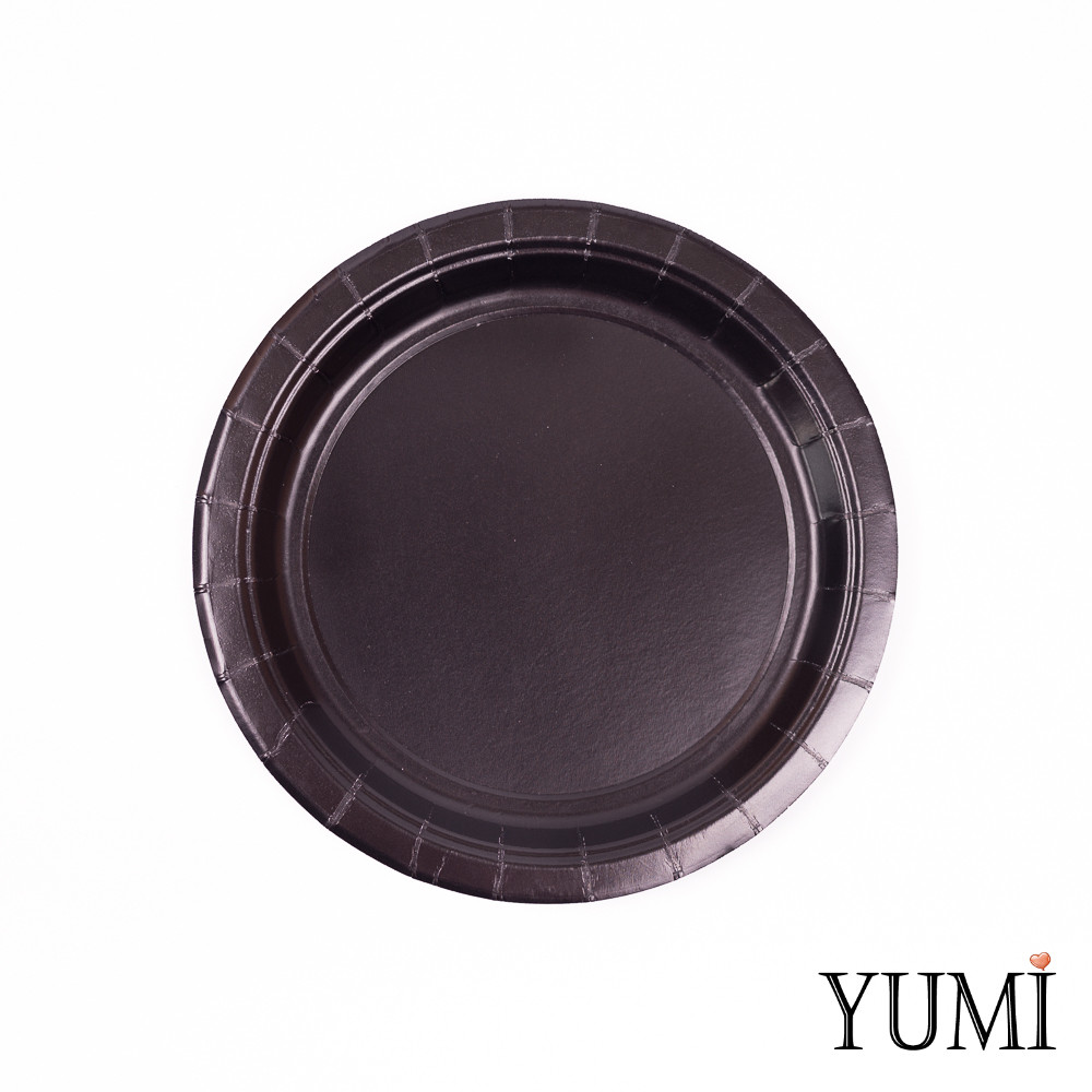 Тарелка картон Black черная 17см / 8 шт. Amscan