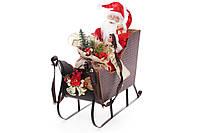 Новогодняя фигура Санта в санях 48см, пластик+ткань, в упаковке 1шт. (NY14-427)