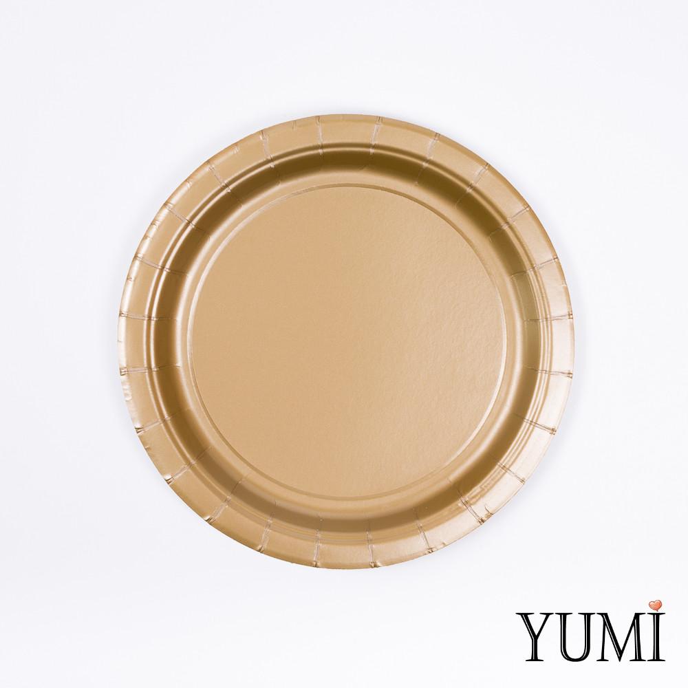 Тарелки картон Gold золото 17см / 8 шт.