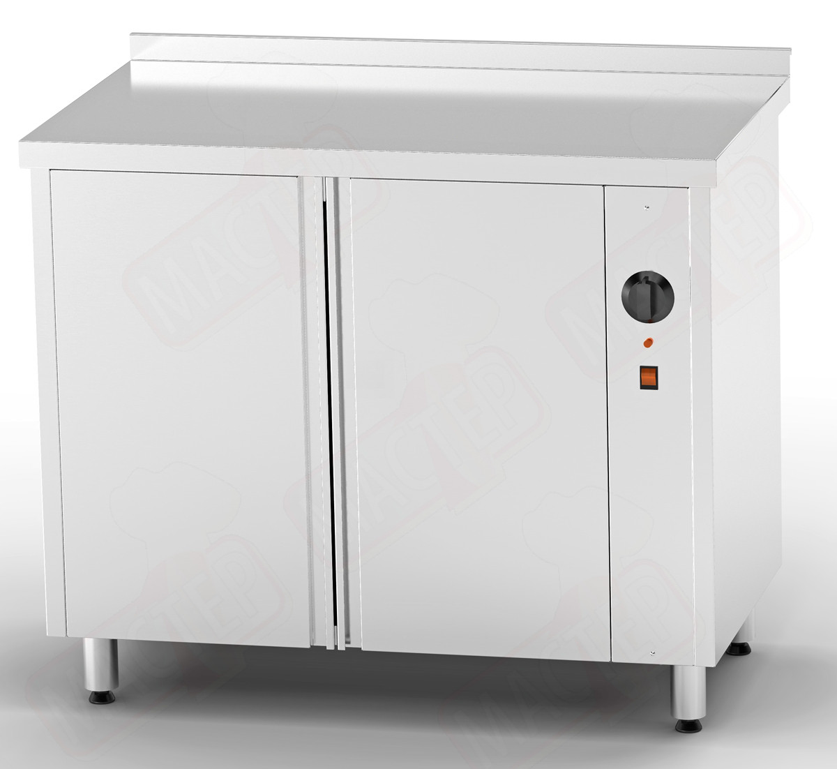 Стол тепловой 1300*700*850 для подогрева тарелок двери распашные (без полки)