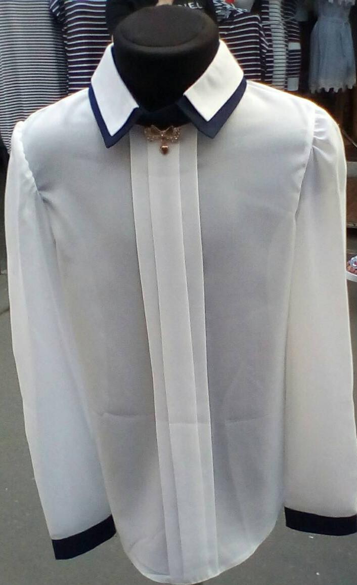 Блузка для дівчинки з довгий рукавом три складки р. 116-140 білий+темно-синій