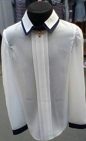 Блузка для дівчинки з довгий рукавом три складки р. 116-140 білий+темно-синій, фото 2