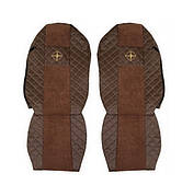 """Чехлы на сидения MERCEDES ACTROS """"3"""" 2008-2012г, коричневые (по два выреза на каждой спинке сидения)(6914)"""