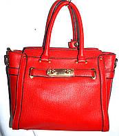 Женская классическая красная сумка из искусственной кожи с длинным ремешком размер 26*24 см, фото 1