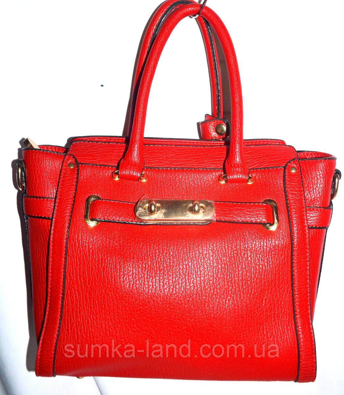 Женская классическая красная сумка из искусственной кожи с длинным ремешком размер 26*24 см