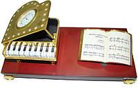 Набор настольный с часами, фортепиано, книгой на деревянной подставке