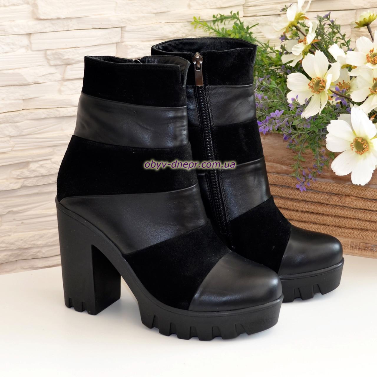 6ca964a4e Женские зимние ботинки на тракторной подошве, натуральная кожа и замша ...