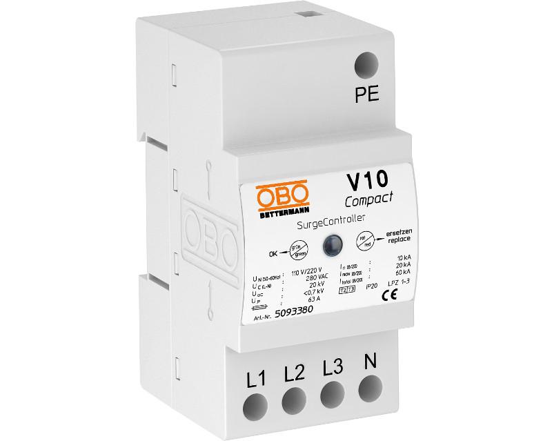 5093380 Разрядник для защиты от перенапряжений V10 Compact, 255  (УЗИП), V10 COMPACT OBO Bettermann (Германия)