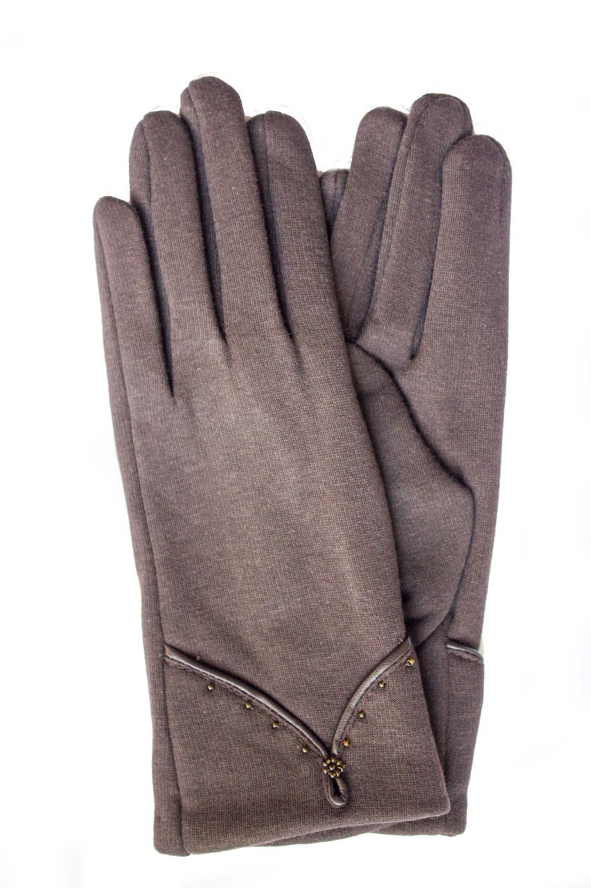 Женские стрейчевые перчатки темно-коричневые 125S1