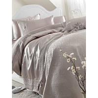 Набор постельное белье с покрывалом пике Karaca Home - Tugce 2018-2 vizon  серое евро c3960f7f1bc4c
