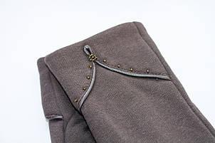 Женские стрейчевые перчатки темно-коричневые 125S1, фото 2