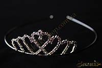 Аксессуары для волос, диадема с камнями чешское стекло, Материал: металл, 1 штука