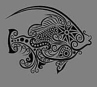 Виниловая интерьерная наклейка - Рыбка черная (от 20х25 см)